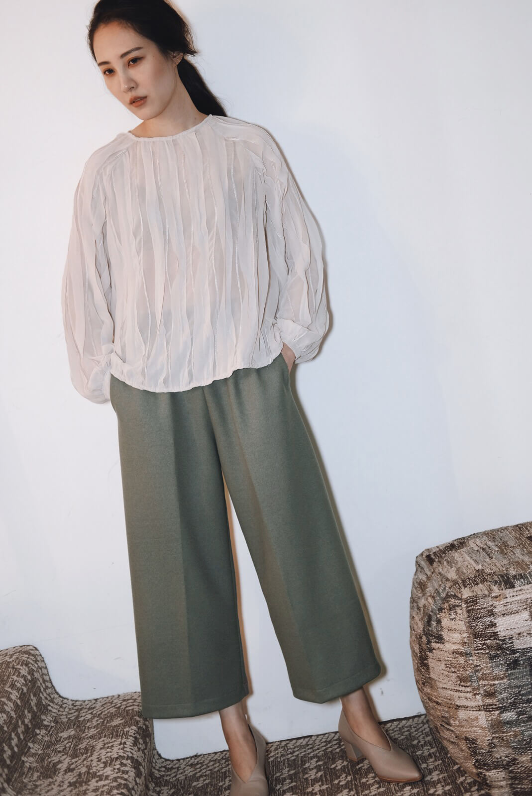DC針織棉寬褲