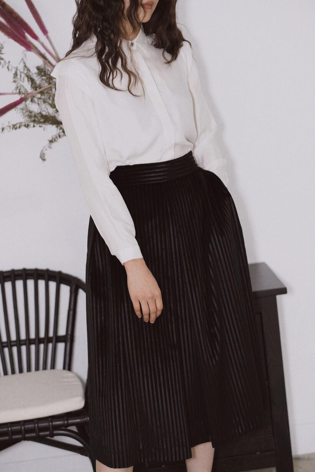 天鵝絨直條裙