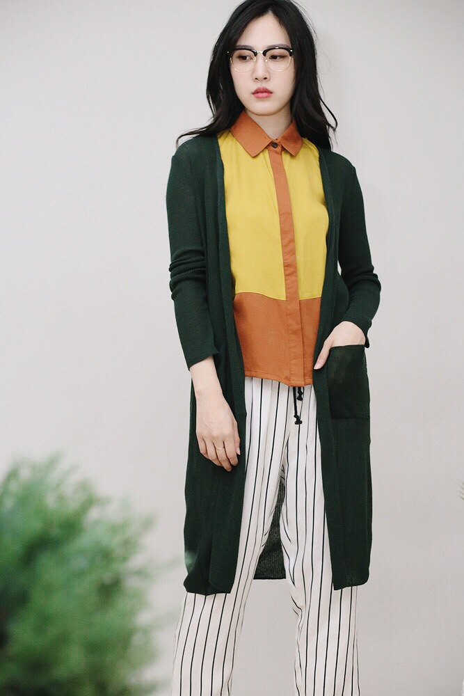 [森綠]直紋開襟衫
