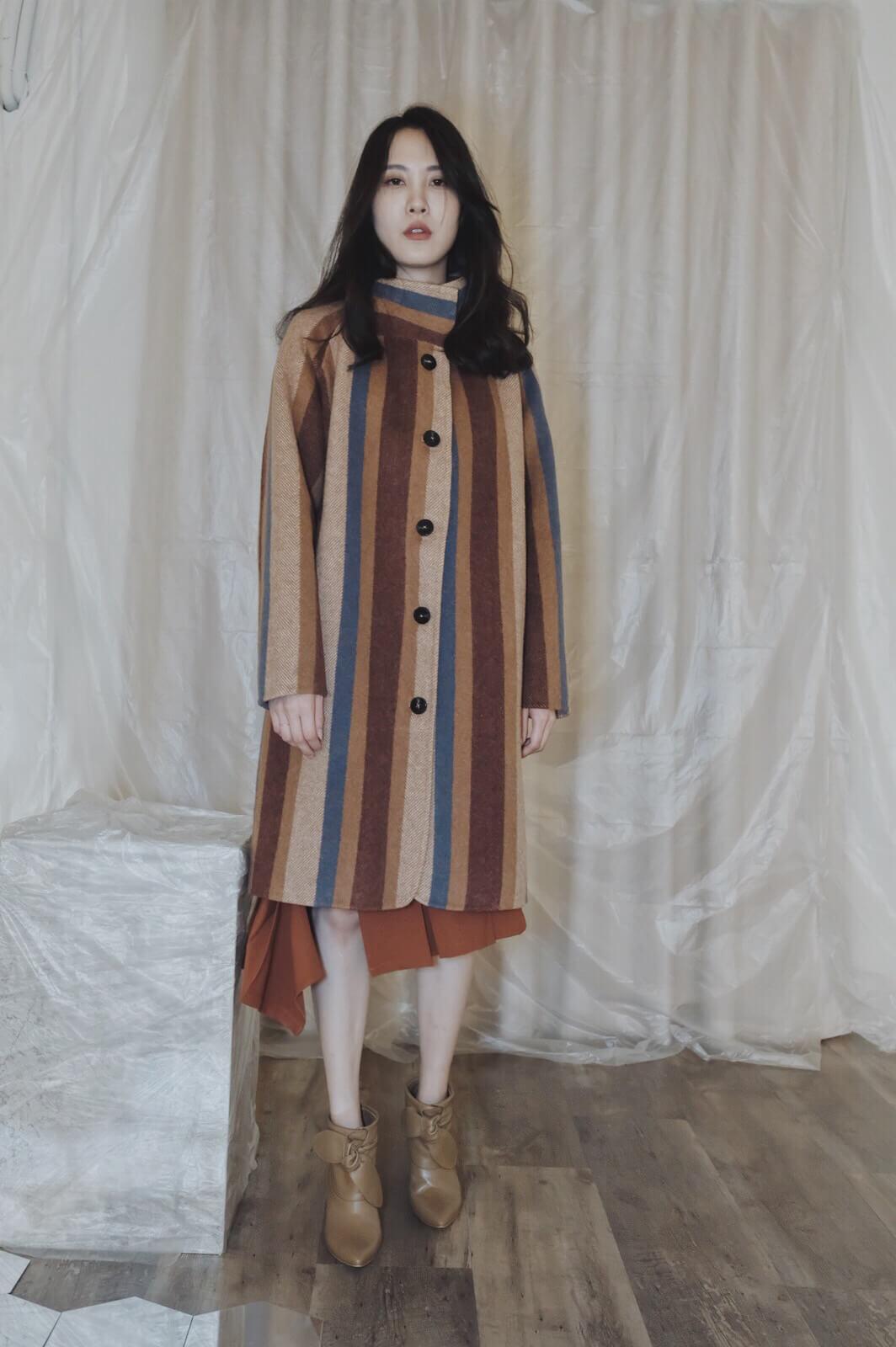 DC直紋單排大衣
