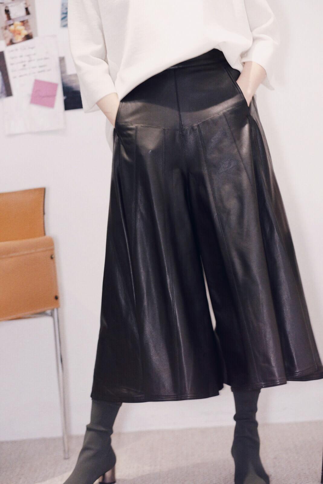DC散襬皮褲裙