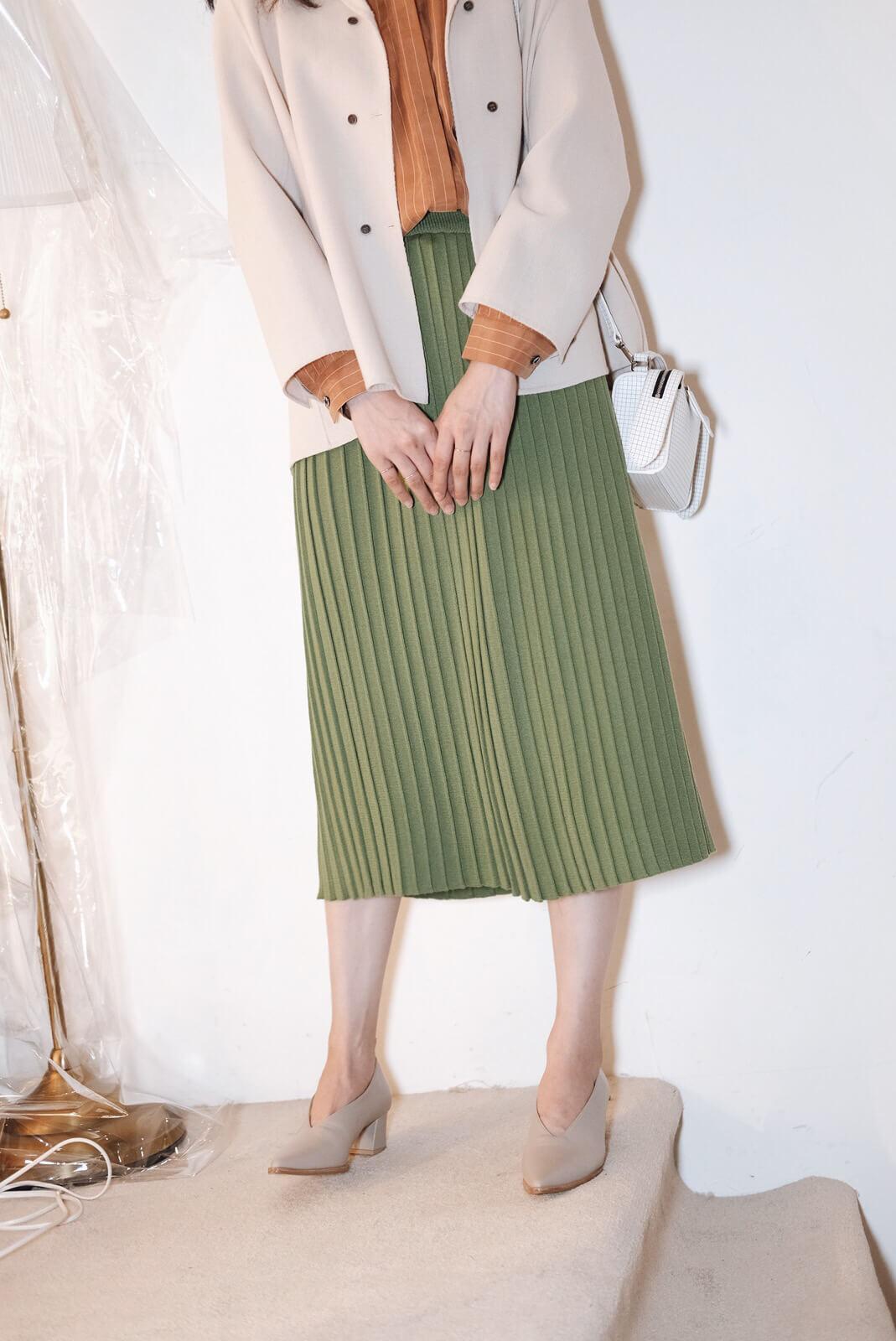 直紋折針織裙
