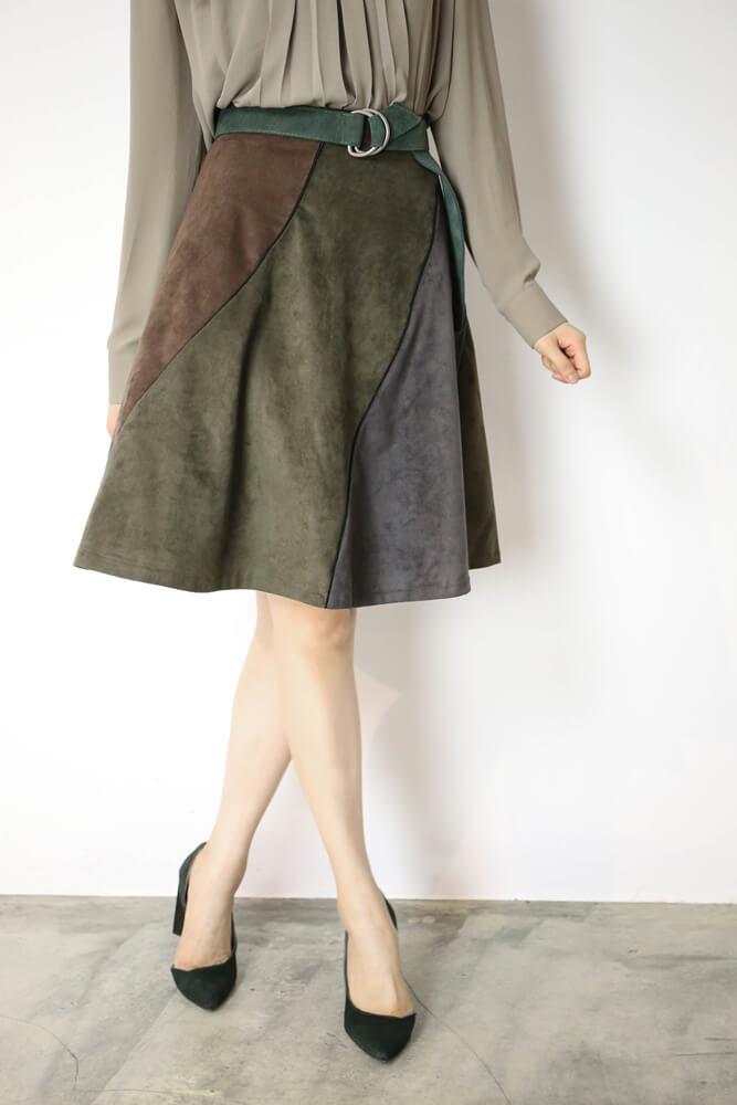 DC[綠]拼接麂皮圓裙