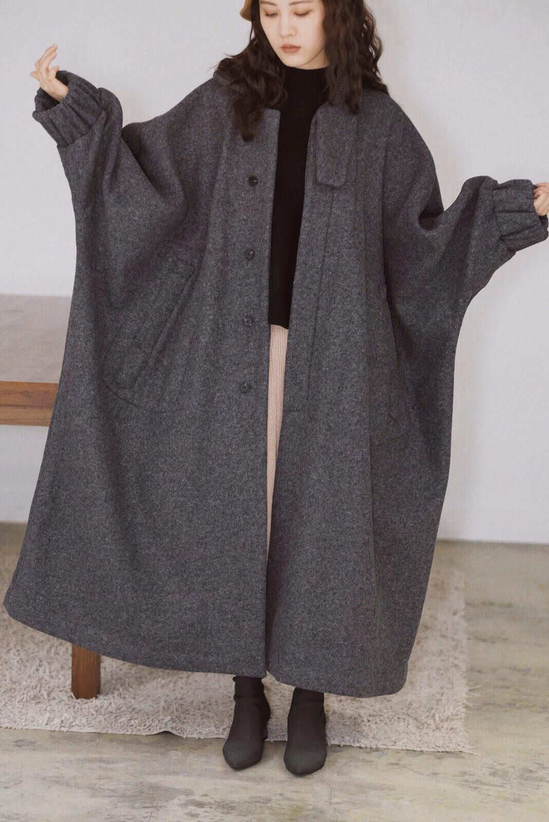 縮口袖大衣