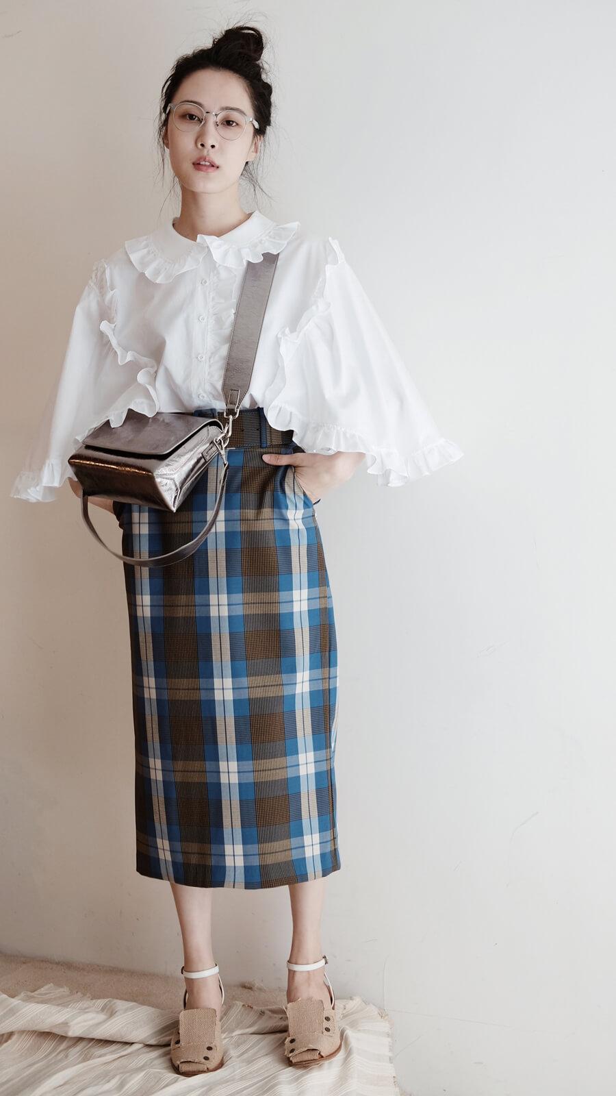 格紋寬皮帶裙