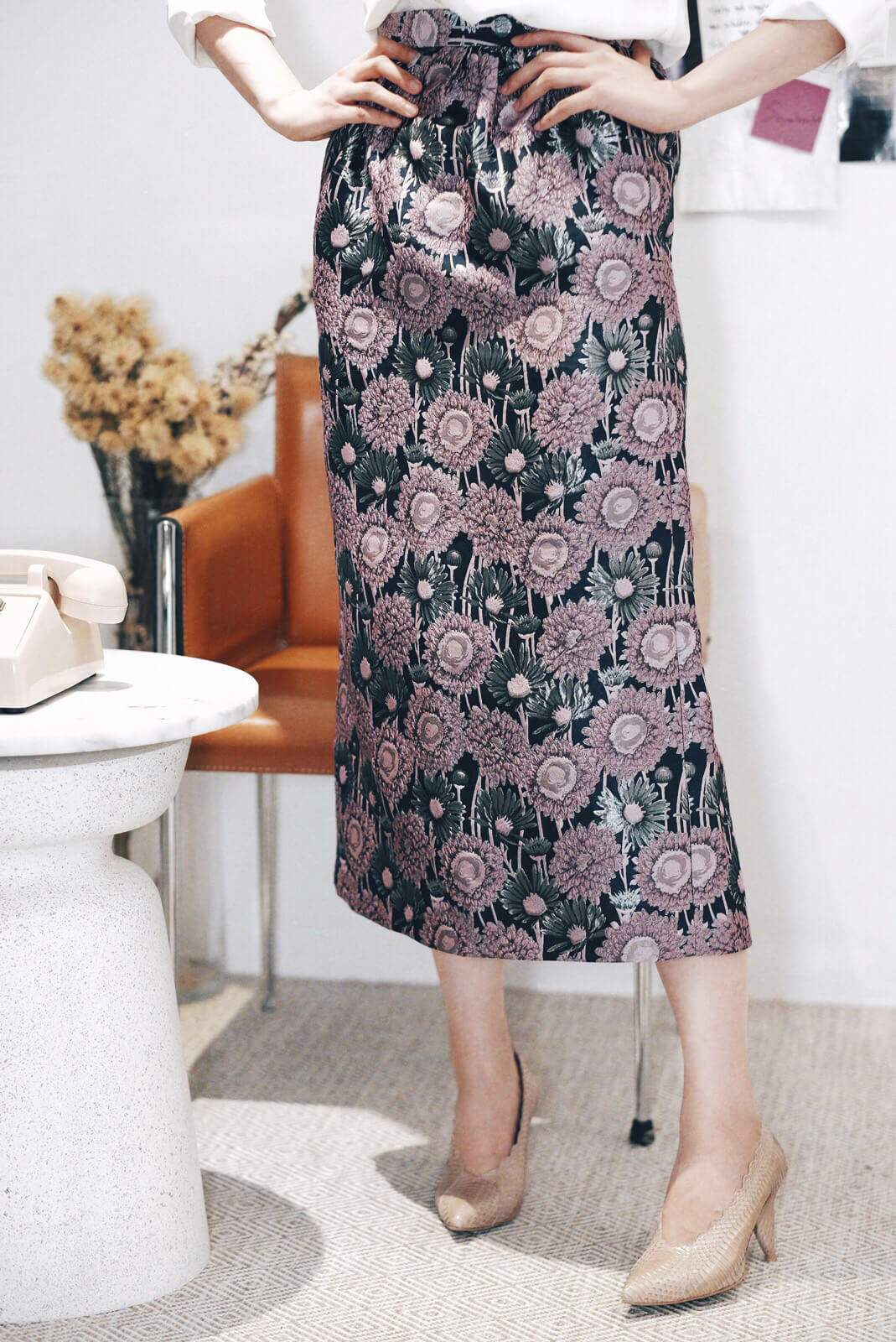 DC織金花朵裙