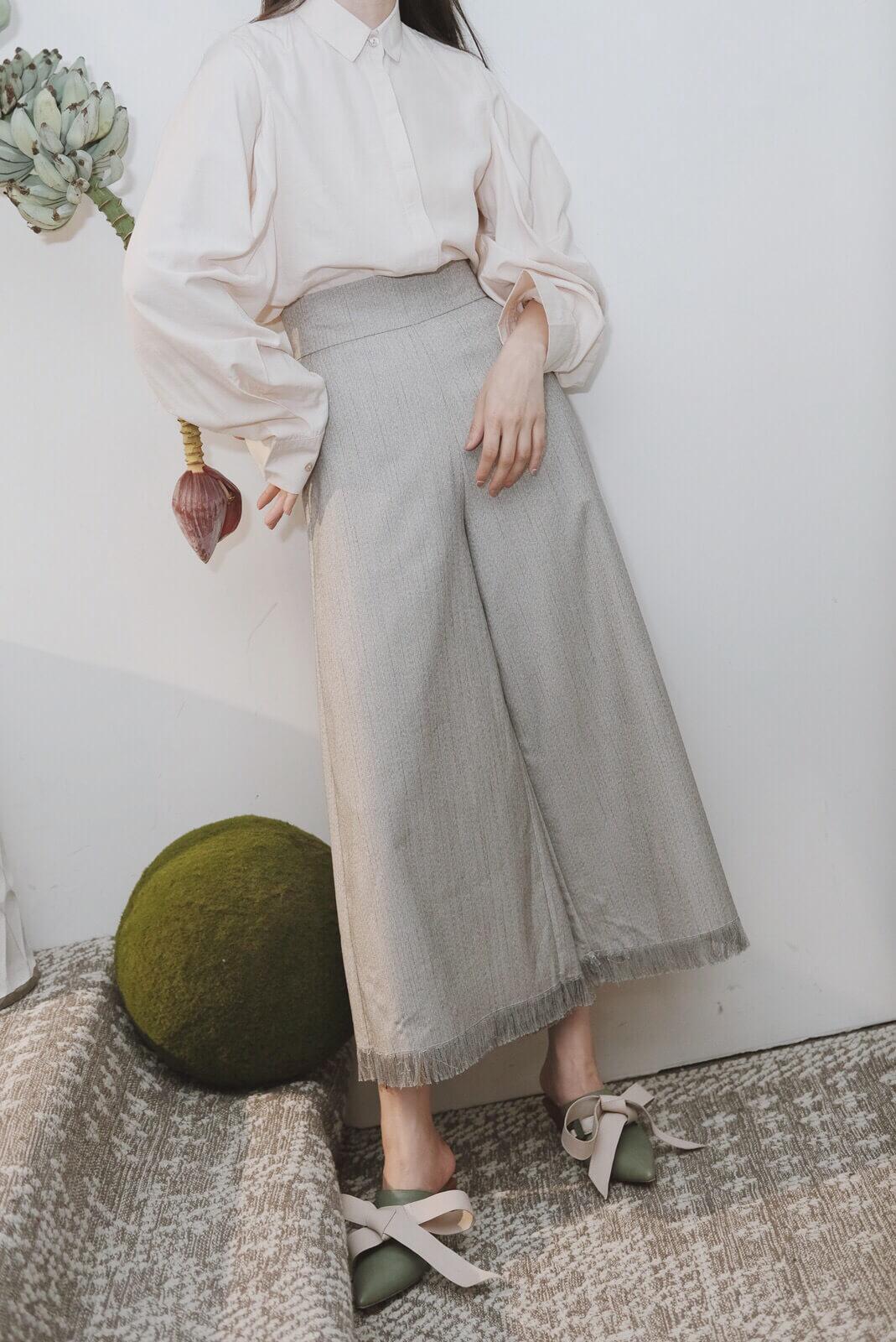 DC織紋抽鬚寬褲