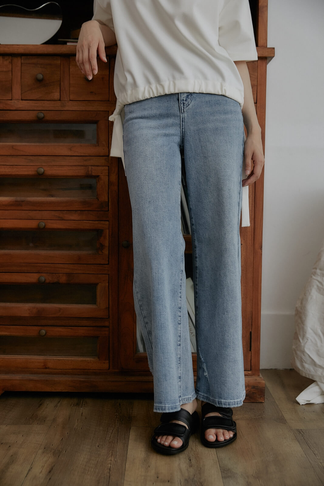DC寬筒單寧褲