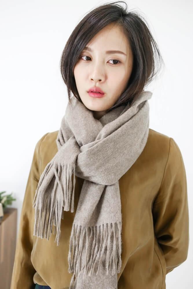 [摩卡]水波紋白羊絨厚織披肩