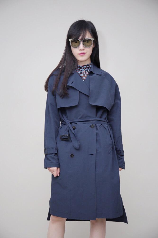 DC[深藍]滑面rayon風衣