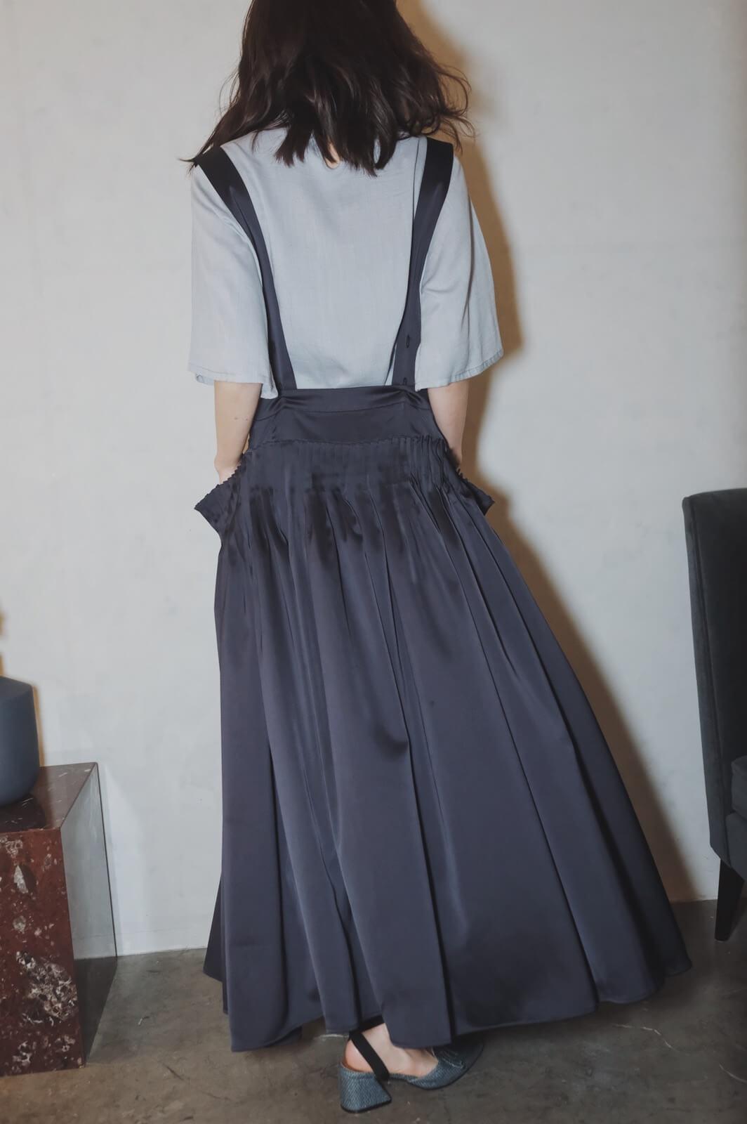 DC吊帶腰接摺裙