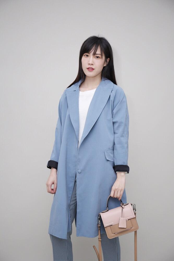 DC[淺藍]大口袋風衣