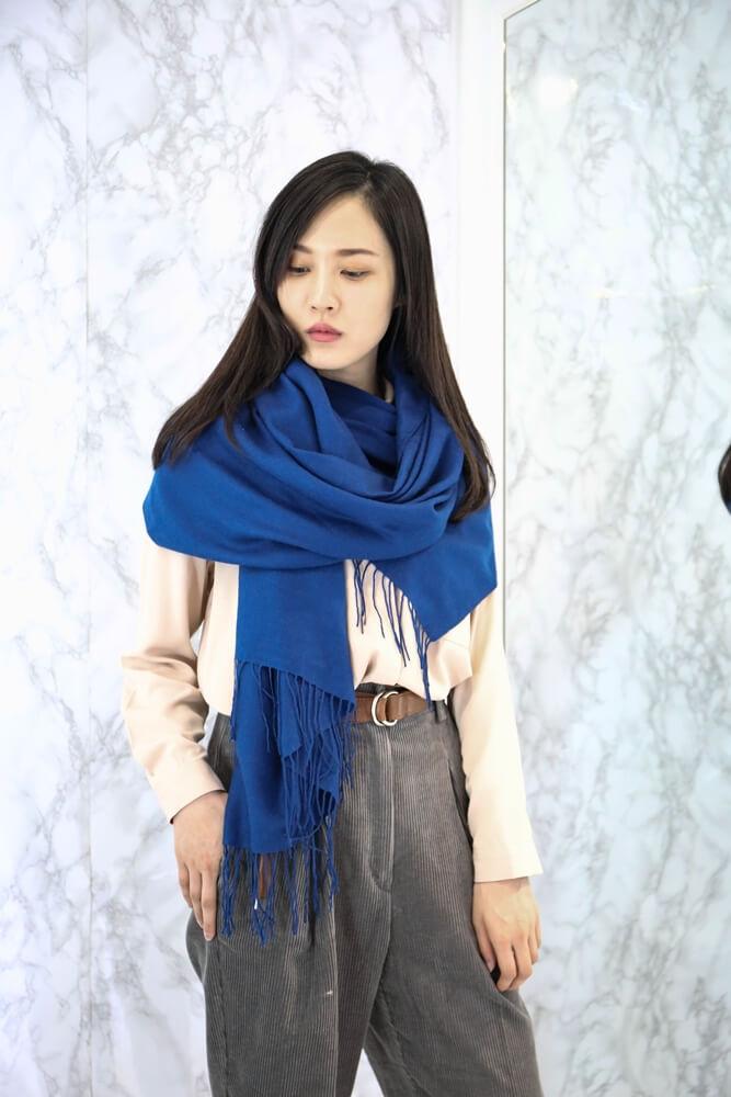 [靛藍]羊毛混紡cashmere圍巾