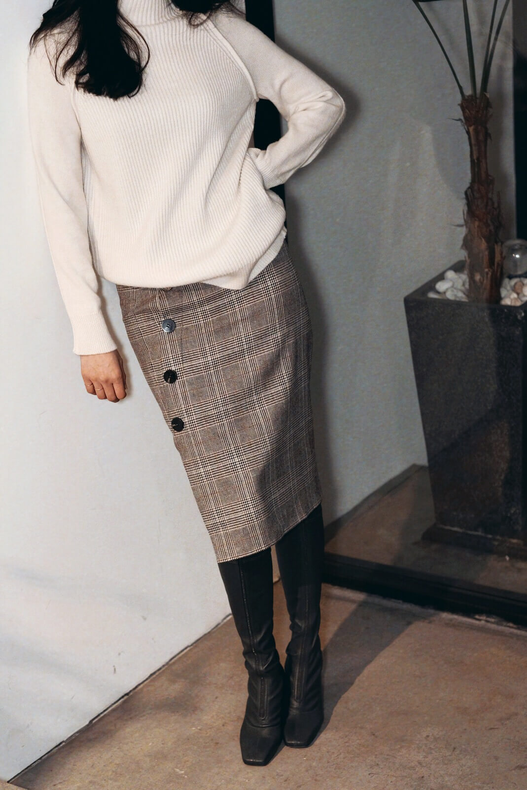 DC側排釦格紋裙