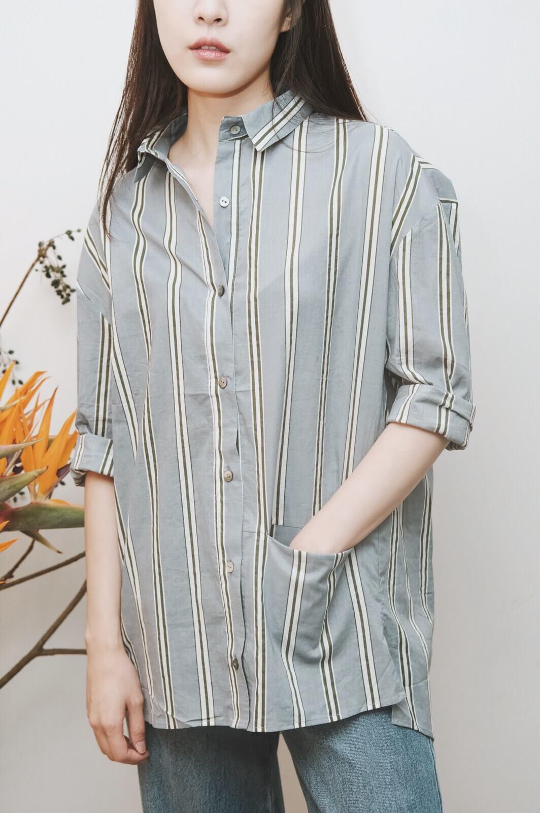 DC寬直條襯衫