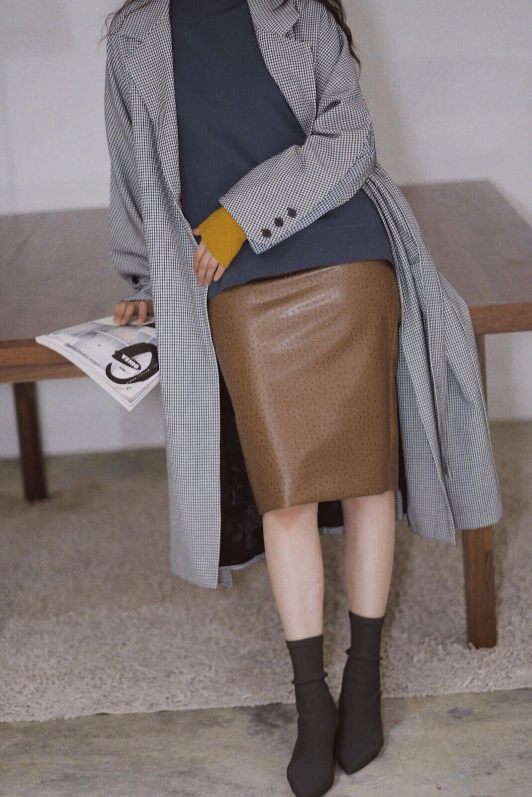 駝鳥紋皮裙