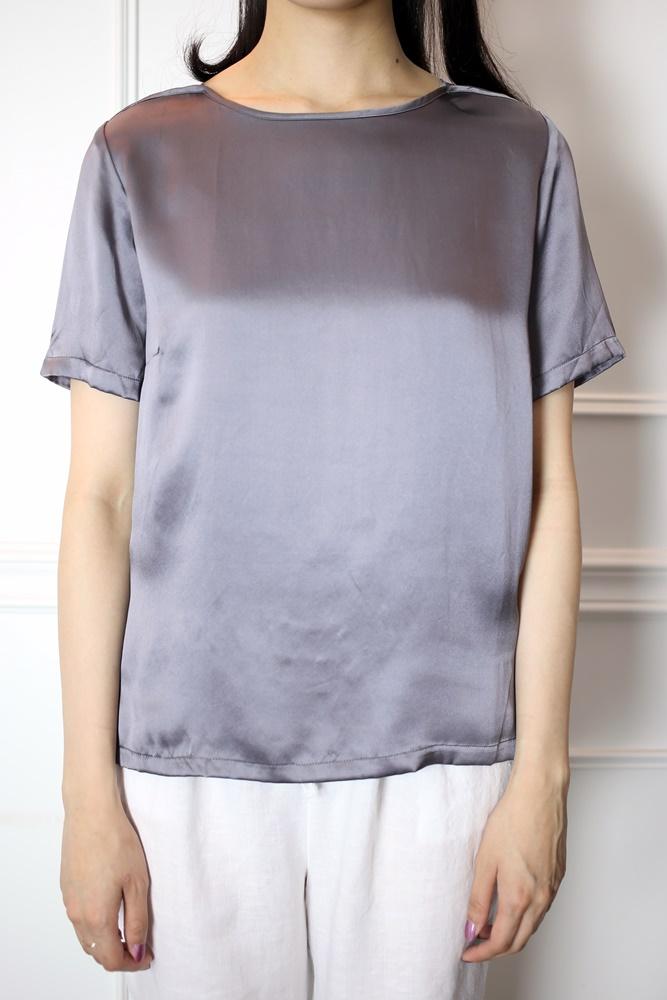 DC[香檳紫]ㄧ字領真絲上衣
