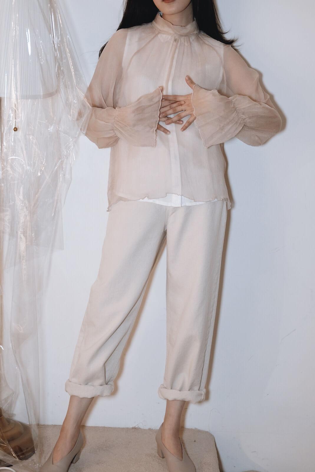 米白單寧褲