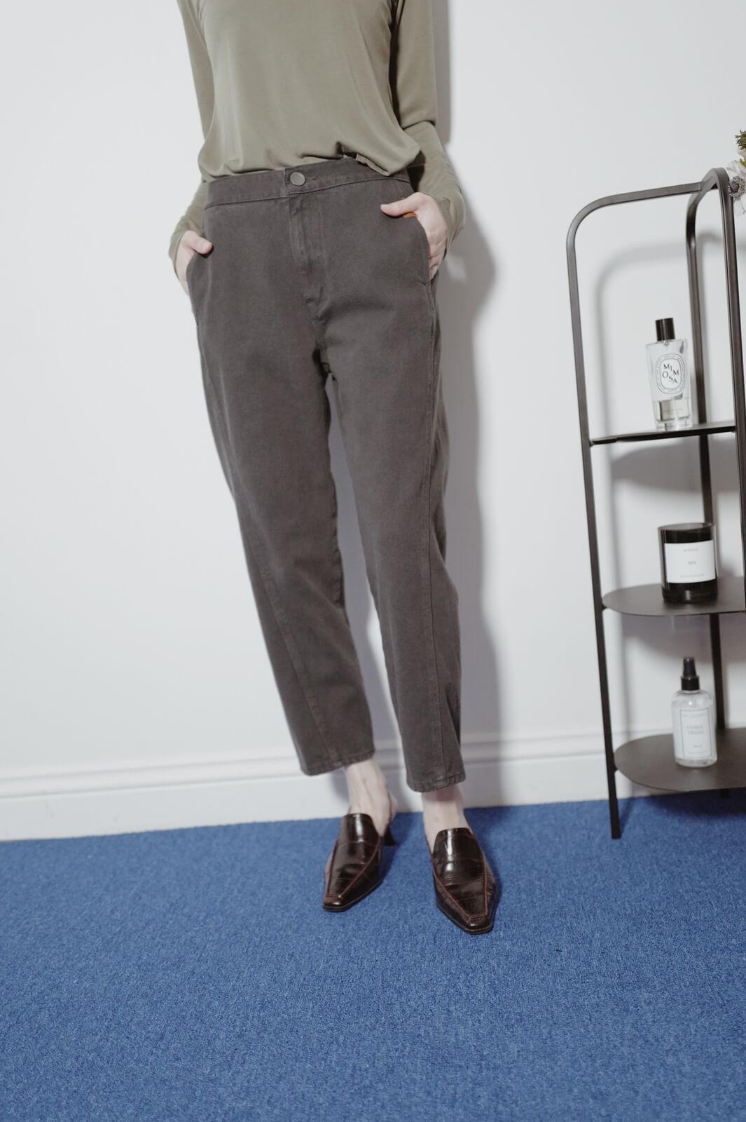 皮標單寧褲