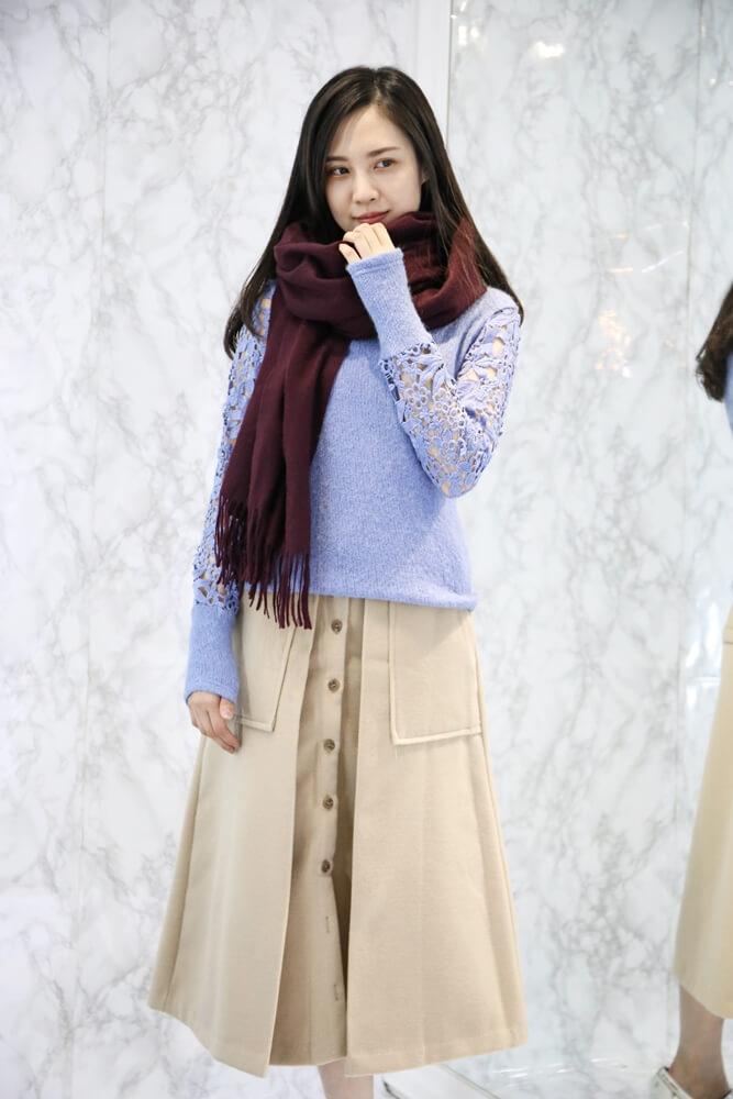 [深紫紅]水波紋白羊絨厚織披肩