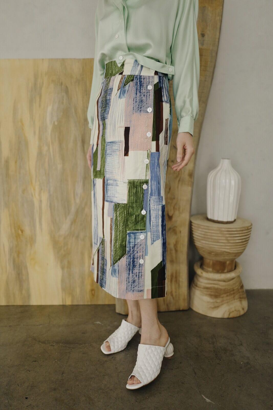 DC抽象格排釦裙
