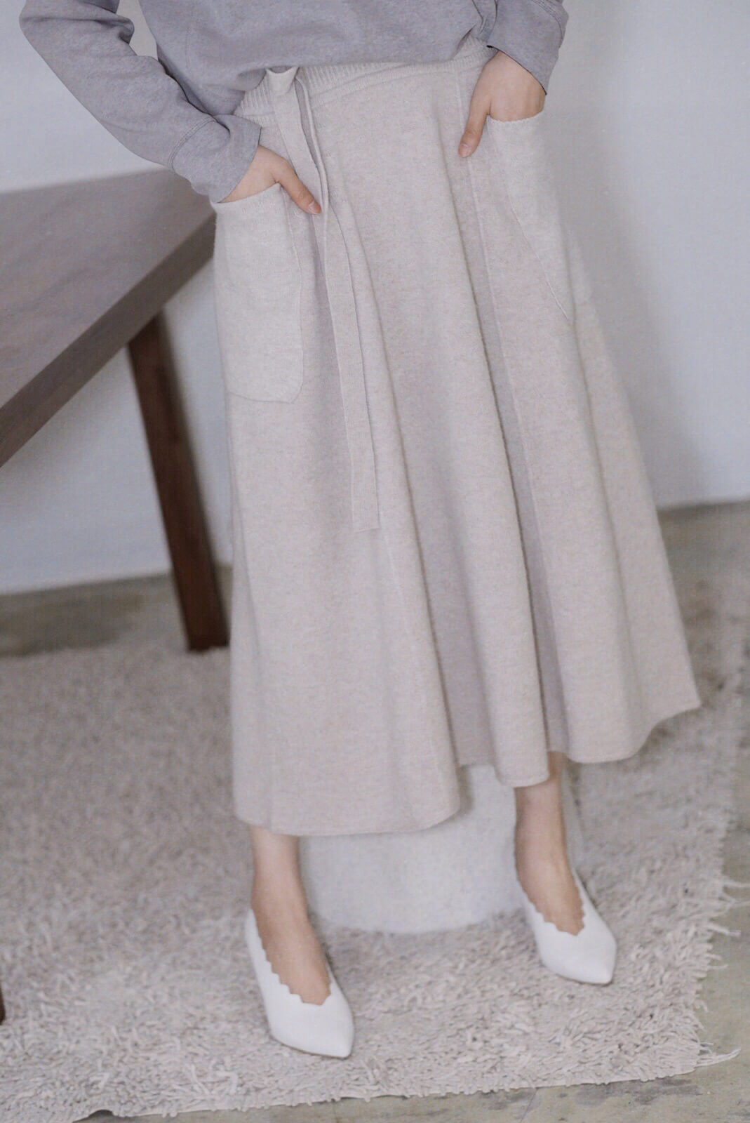針織A字裙
