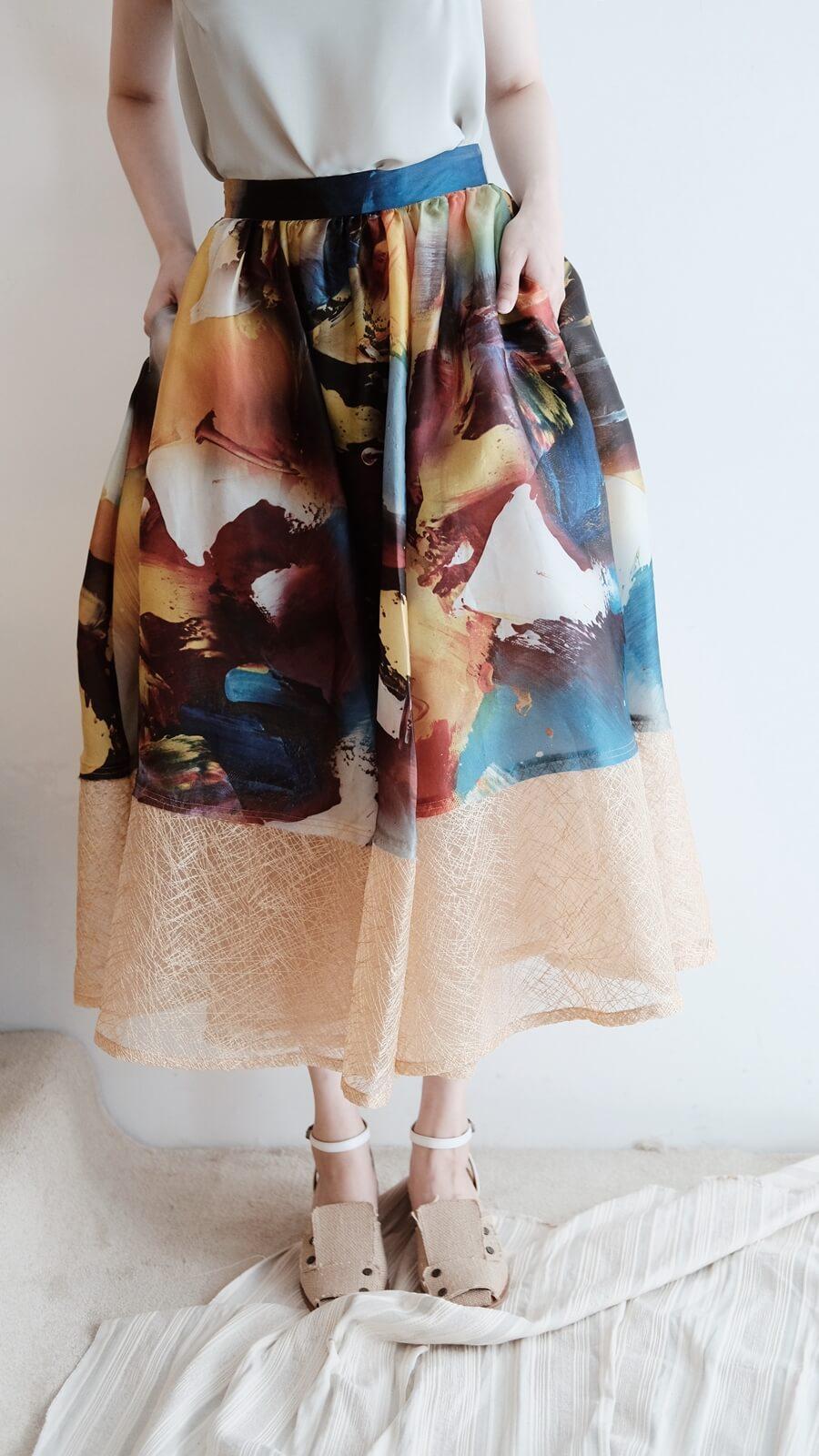 DC幻彩拼紗裙